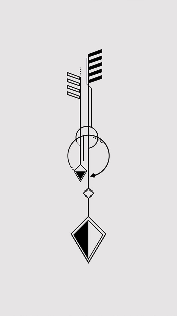 design für eine geometrisches tattoo mit einem schwarzen scharfen pfeil und mit weißen und schwarzen dreiecken und kreisen