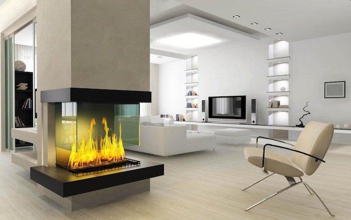 moderne wohnzimmermöbel, feines design in hellen farben ein sessel, kaminofen bringt farbe ins zimmer mit