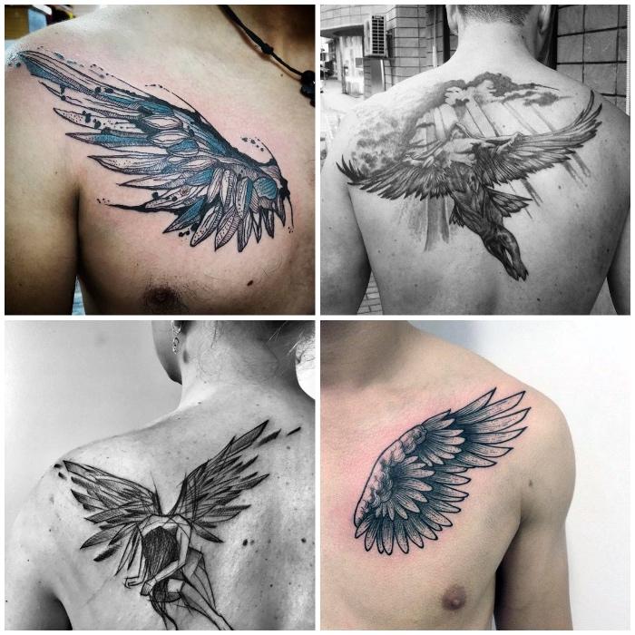 tattoo engel, flügel mit blauen federn, fliegender engel, verschiedene designs