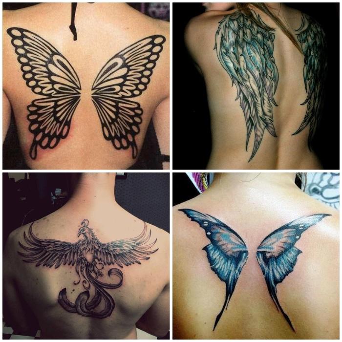 tattoo engel, engelsflügel am rücken, große schmetterlingflügeln, fönix