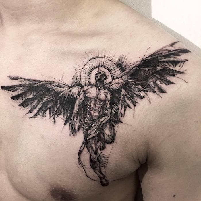 tattoo engel, realistische tätoiwerung, gefallener engel an der brust, blackwork tätowierung