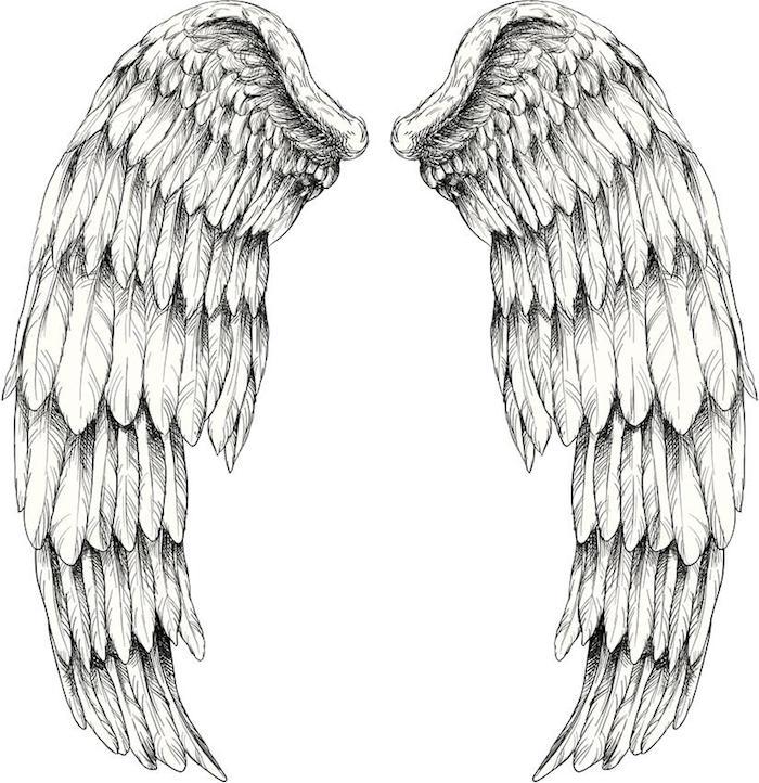 tattoo engel vorlage, große engelsflügel, weißer hintergrund, tätowierung für den rücken