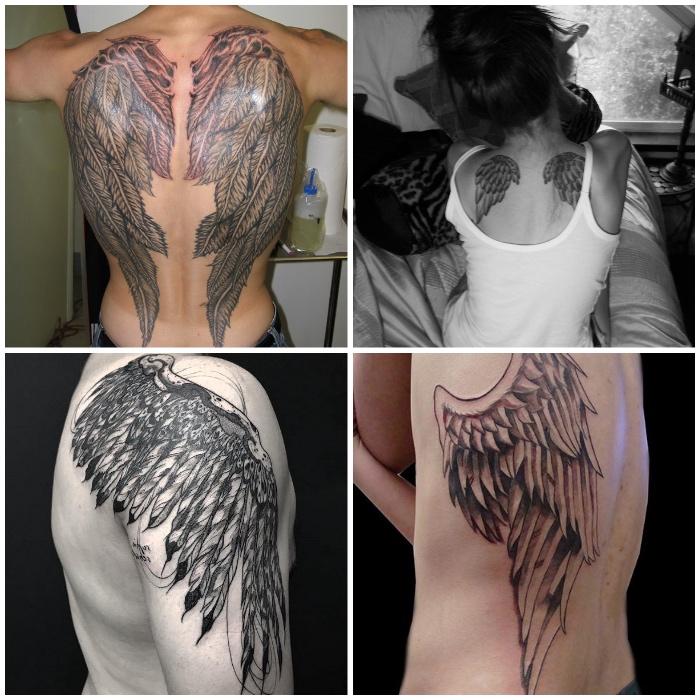 tattoo engelsflügel, unterschiedliche tattoo designs, große flügeln am rücken, schulter tätowieren lassen