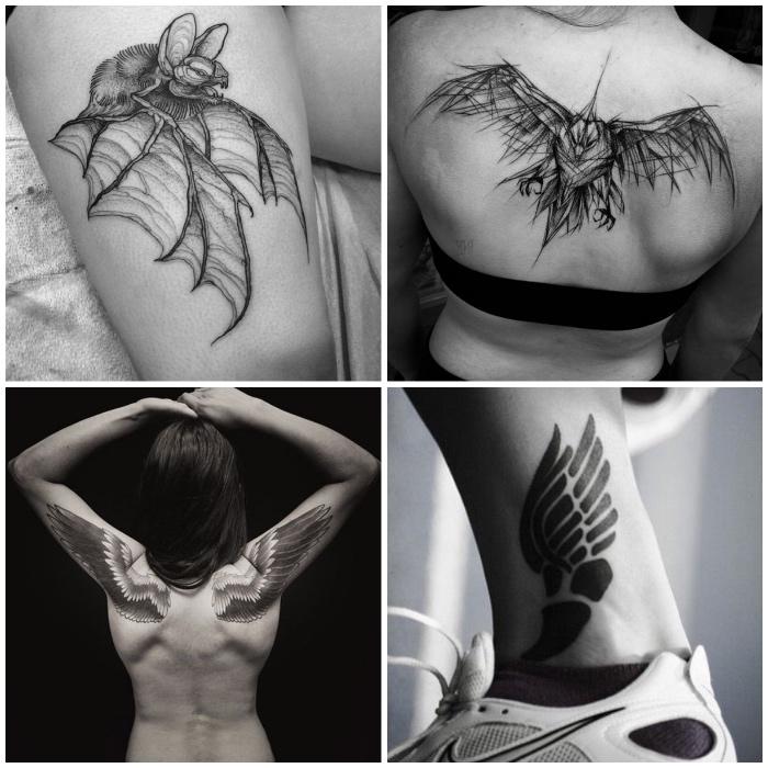 tattoo flügel für frauen, unterschiedliche designs, fledermaus am oberschenkel, vogel am rücken