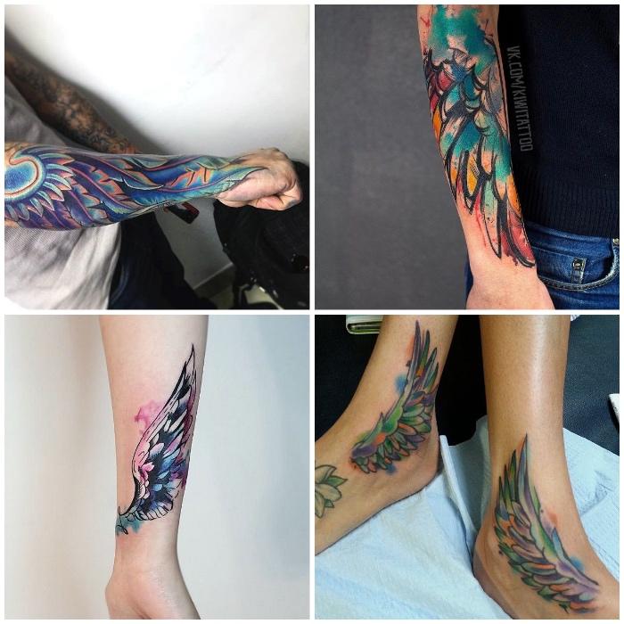 unterarm tätowieren lassen, tattoo flügel, wasserfarben tätowierungen, farbige tattoo designs
