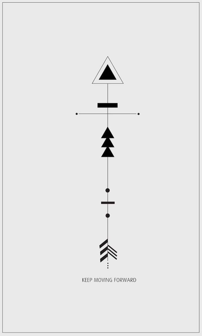 design für ein schwarzes tattoo mit einem scharfen pfeil und mit geometrischen formen und dreiecken