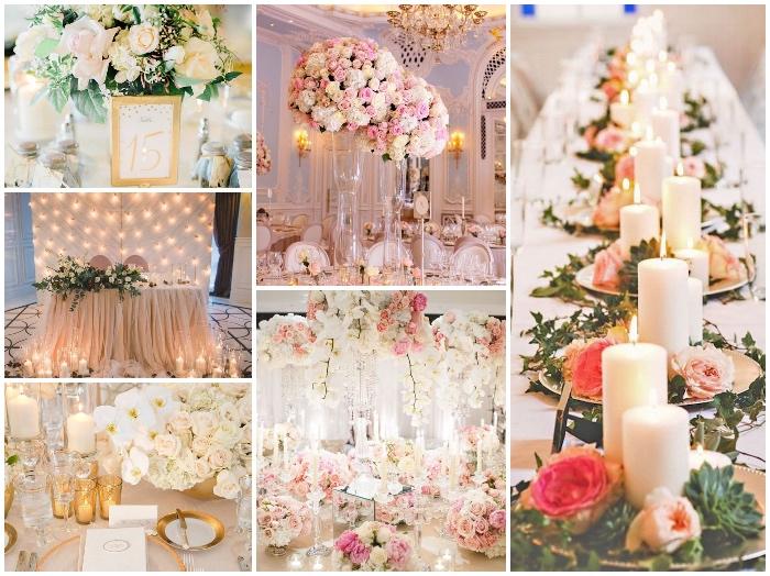 tischdeko für hochzeit, viele lichterketten, tisch dekorieren, weiße kerzen, rosen