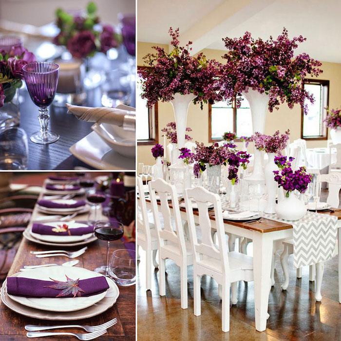 tischdeko für hochzeit in lila und weiß, große keramische blumengestecke