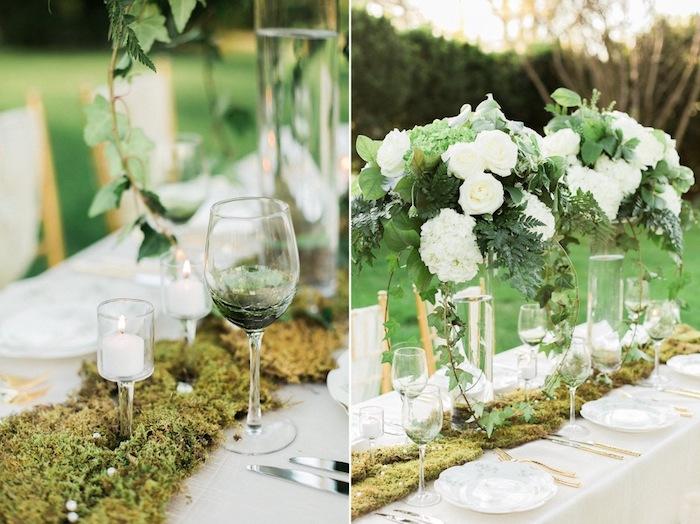 tischdeko günstig, weiße rosen und hortensien, grüne blätter, moos, heiratne im garten