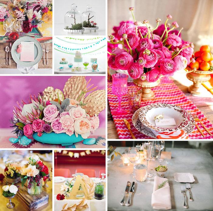 tischdeko hochzeit selber machen, rosa blüten, tischdekoration ideen, hochzeitsdeko