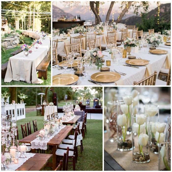 tischdeko hochzeit selber machen, glasvasen mit weißen tulpen, goldene stühle und teller