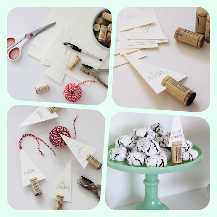 Kartenhalter aus Korken selber machen, Papierstück mit dem Namen des Gastes darin stecken