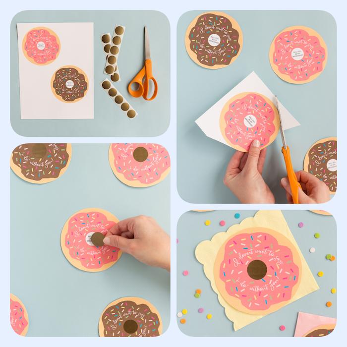 Kreative Karten in Form von Donuts selber machen, kleine DIY Geschenke für Brautjungfern