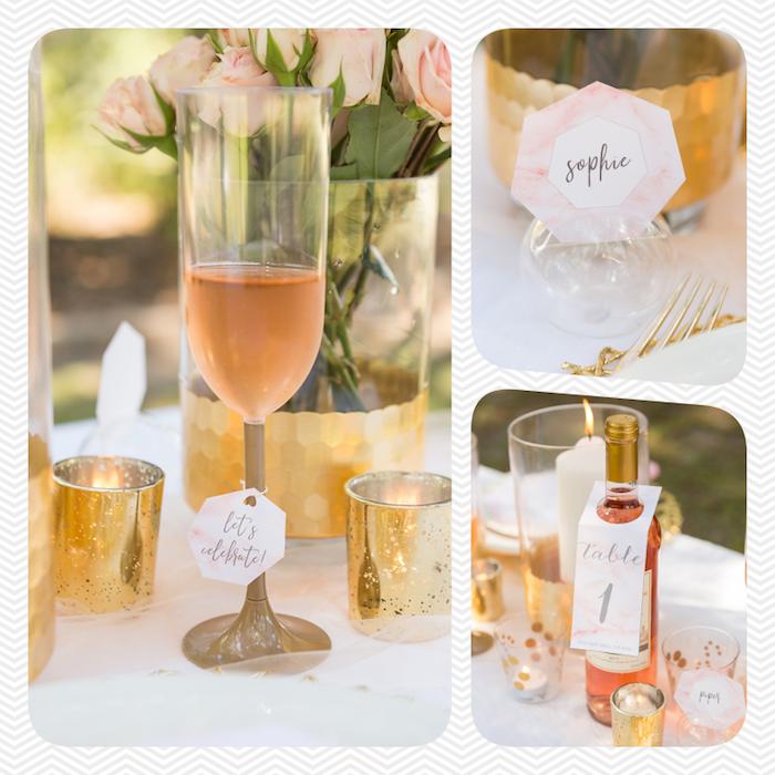 Anhänger selbst ausdrucken, an Weinglas oder Weinflasche befestigen, Tischdeko in Pfirsich