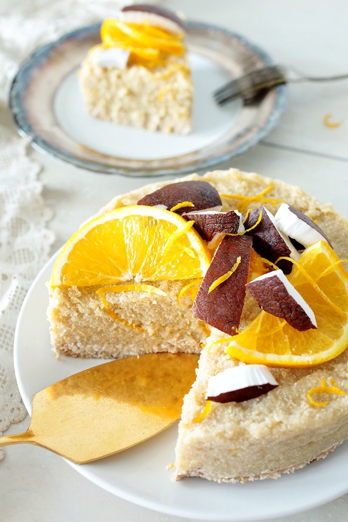 torte ohne backen, kuchen mit quinoa, orangen und kokos, exotisches dessert