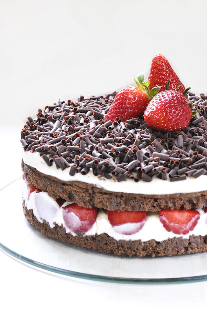 Leckere Torte mit Kakao-Böden und Vanillecreme, dekoriert mit Schokoladenstreuseln und frischen Erdbeeren