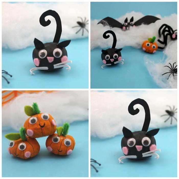 vier Figuren von Kürbissen und schwarzen Katzen und Fledermäusen, Kastanien Deko für Halloween