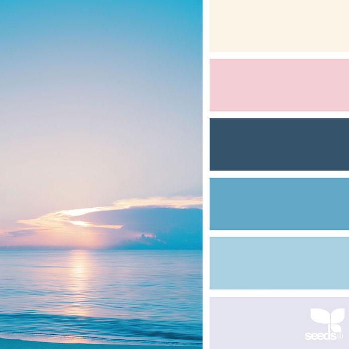 wand streichen ideen wohnzimmer, sonnenübergang über dem meer, farbpalette erstellen