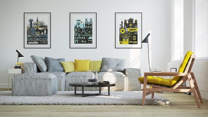 wand streichen ideen wohnzimmer, gelber sessel, graues ecksofa, drei bilder, wanddeko