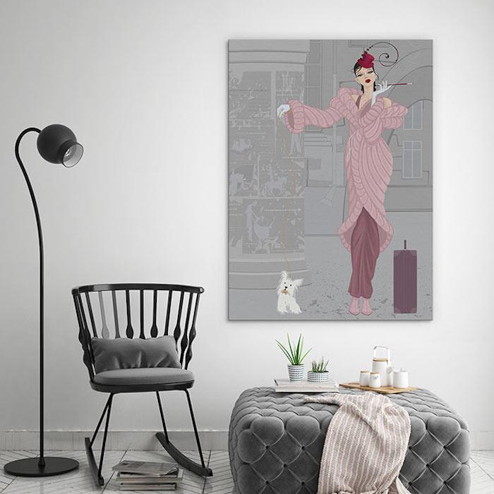 wand streichen ideen wohnzimmer, großes bild mit frau und hund, schwarzer stuhl, grauer hocker