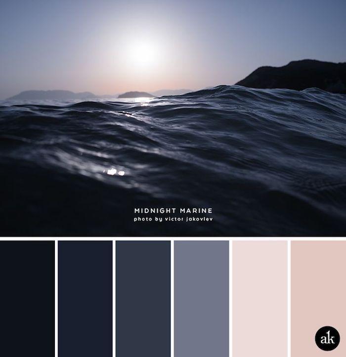 wandfarben ideen wohnzimmer, meer und sonne, schwarze wasser, farbpalette erstellen