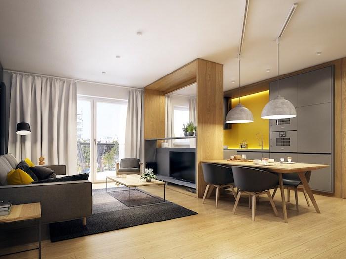 wandfarben ideen wohnzimmer und küche in einem, einrichtung in grau und gelb, parkett