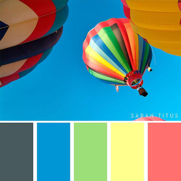 wandfarben ideen wohnzimer, heißluftballons in bunten farben, farbschema