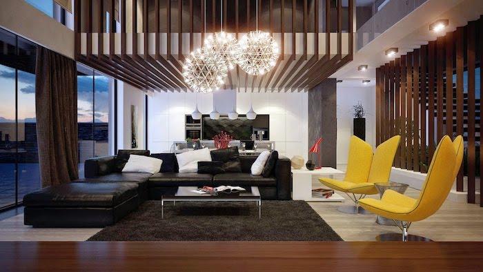 wandfarben ideen wohnzimmer, runde pendelleuchten, schwarzes ledesofa, gelbe sessel