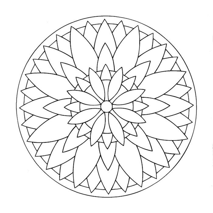 ein weißer kreis mit kleinen und großen weißen mandala blumen, blumen vorlagen zum ausdrucken