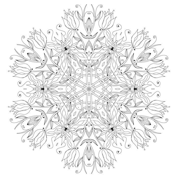 ein mandala ausmalbild mit vielen kleinen und großen weißen blumen mit weißen blättern, mandalas ausmalen kostenlos