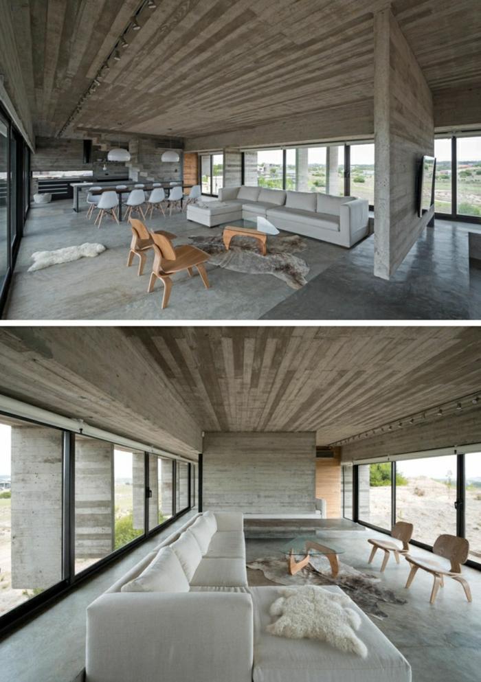 eine schöne Einrichtung, Einzimmerwohnung, Ferienhaus mit moderner Ausstattung, Betonboden Wohnbereich