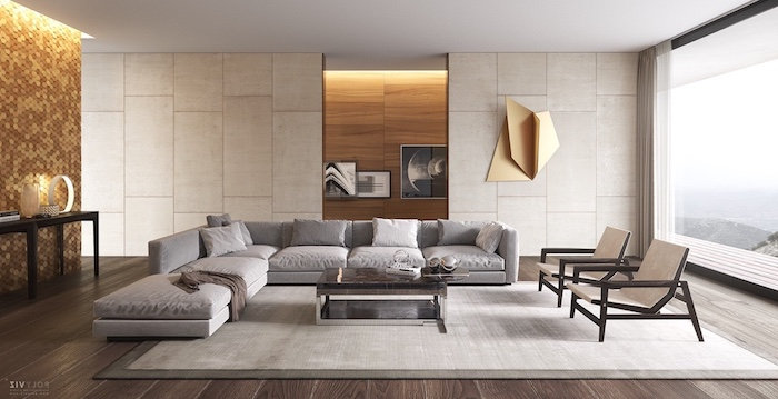 welche farbe passt zu grau, einrichtung in neutralen farben, mosaikwand mit led beleuchtung, holzboden
