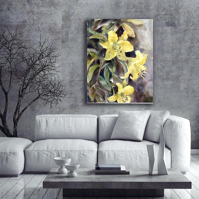 welche farbe passt zu grau, wand in beton optik, bild mit gelben blumen, keramische dekorationen
