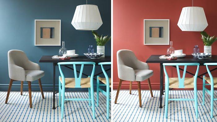 welche farbe passt zu rot, weiße pendellampe, hellblaue stühle, esszimmer dekorieren, bild