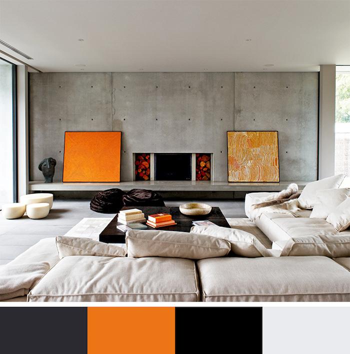 welche farben passen zusammen, wände in beton optik, weißes sofa, einchtung in schwarz, weiß und orange