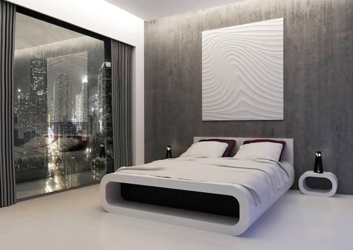 wohnideen schlafzimmer, graue wand in beton optik, 3d wandpaneel, designer möbel