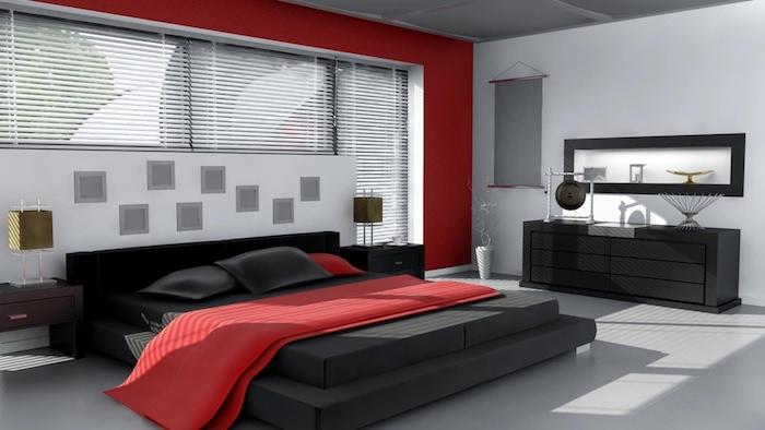 wohnideen schlafzimmer, einrichtung in schwarz, weiß und rot, möbel set, spiegle mit unterschrank
