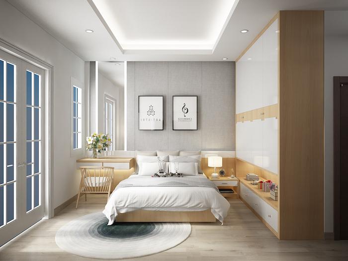 wohnideen schlafzimmer, runder teppich in ombre look, großer kleiderschrank, möbel set