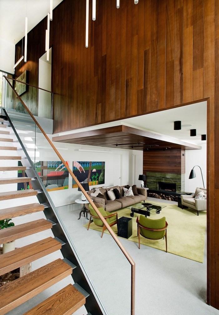 kreatives und schönes wohnzimmer gestalten in braun und grün, teppich, wanddeko ideen