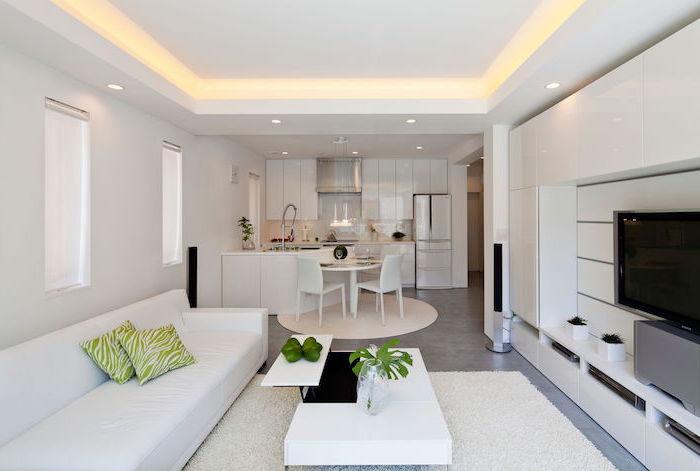 moderne wohnzimmermöbel in dezenten farben und gestaltungen, sofa mit zwei kissen, weißer holztisch und eine grüne pflanze darauf