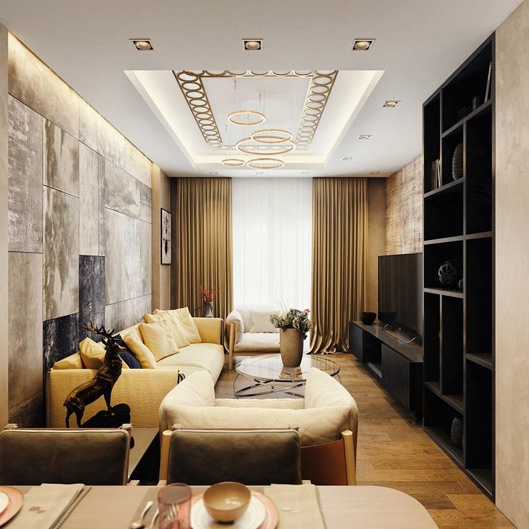 wohnzimmer modern einrichten in pastellfarben, warme töne einrichtung zu hause, gelbes sofa