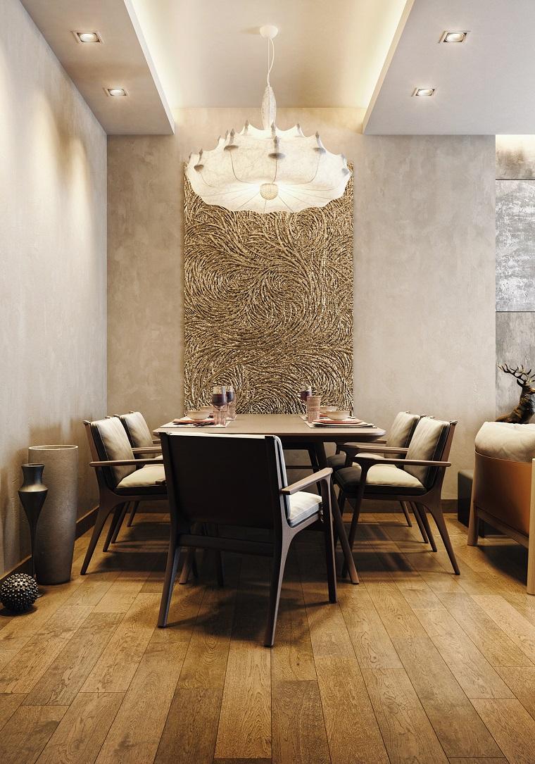 wohnzimmer modern mit einem essbereich, wohn und esszimmer kombinieren, großer tisch mit stühlen