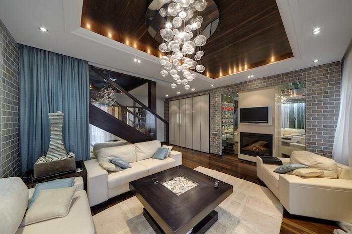 dekorationen und bilder wohnzimmer ideen zum einrichten und dekorieren, blau schöne weiße lichter