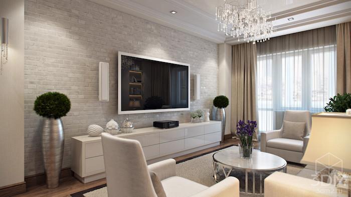 möbel modern in glänzenden farben, silberne vasen, großer fernseher im raum, runder tisch