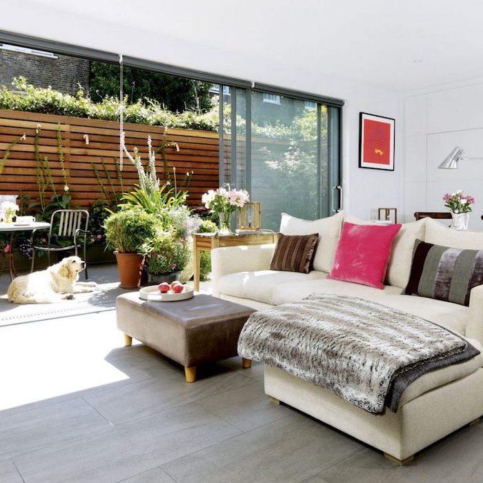 möbel modern, gestaltungsideen für mehr gemütlichkeit, wohnzimmer mit terrasse und garten, hund im zimmer