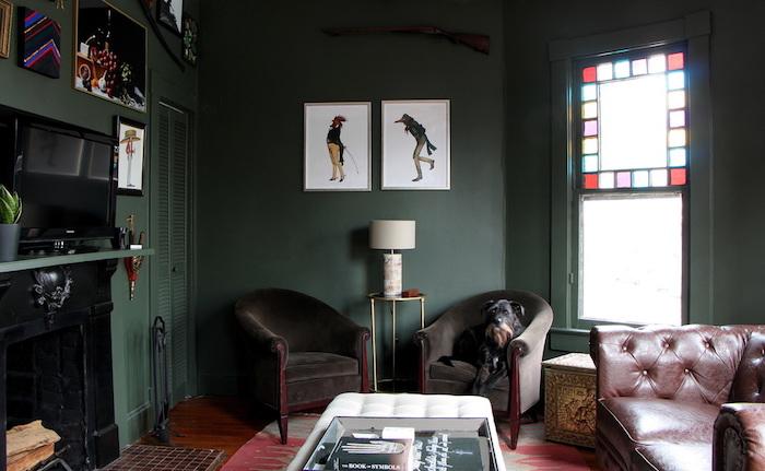 wohnzimmer einrichten und fotografieren, bild von dem ganzen raum, wandbilder, sessel,m sofa,ideen