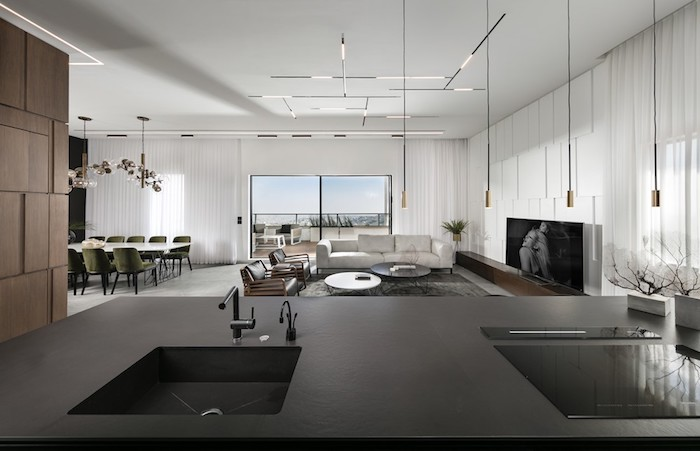 ein blick von der küche, moderne wohnzimmer selber einrichten, stilvolle ideen zum nachmachen
