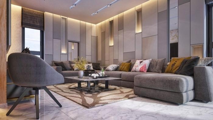 schöne wohnzimmer ideen in grau mit feiner beleuchtung zur guten balance, sofa, mit deko kissen, lampen