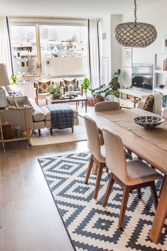 einrichtungsideen wohnzimmer gestaltung im afrikanischen stil, deko und einrichtung, teppich mit geometrischen formen