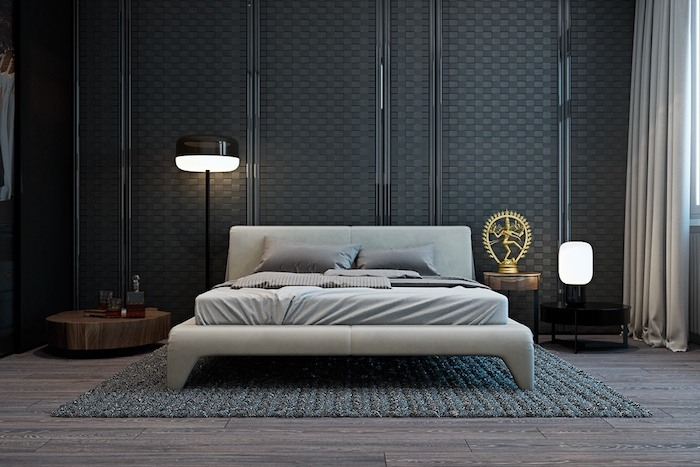 zimmer einrichten, schwarze 3d wand, graues bett, designer lampen, stickteppich